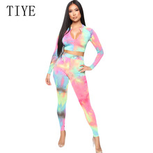 TIYE New Tie-dyed Zipper Top Casual Tight Playsuits Elegant Long Sleeve Bodycon Bandage Vintage Printed Jumpsuits Monos Mujer