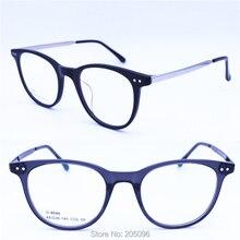 8046 unisex clássico à moda armação de acetato combinado com metal templo  prescrição óculos de grau 97600406db