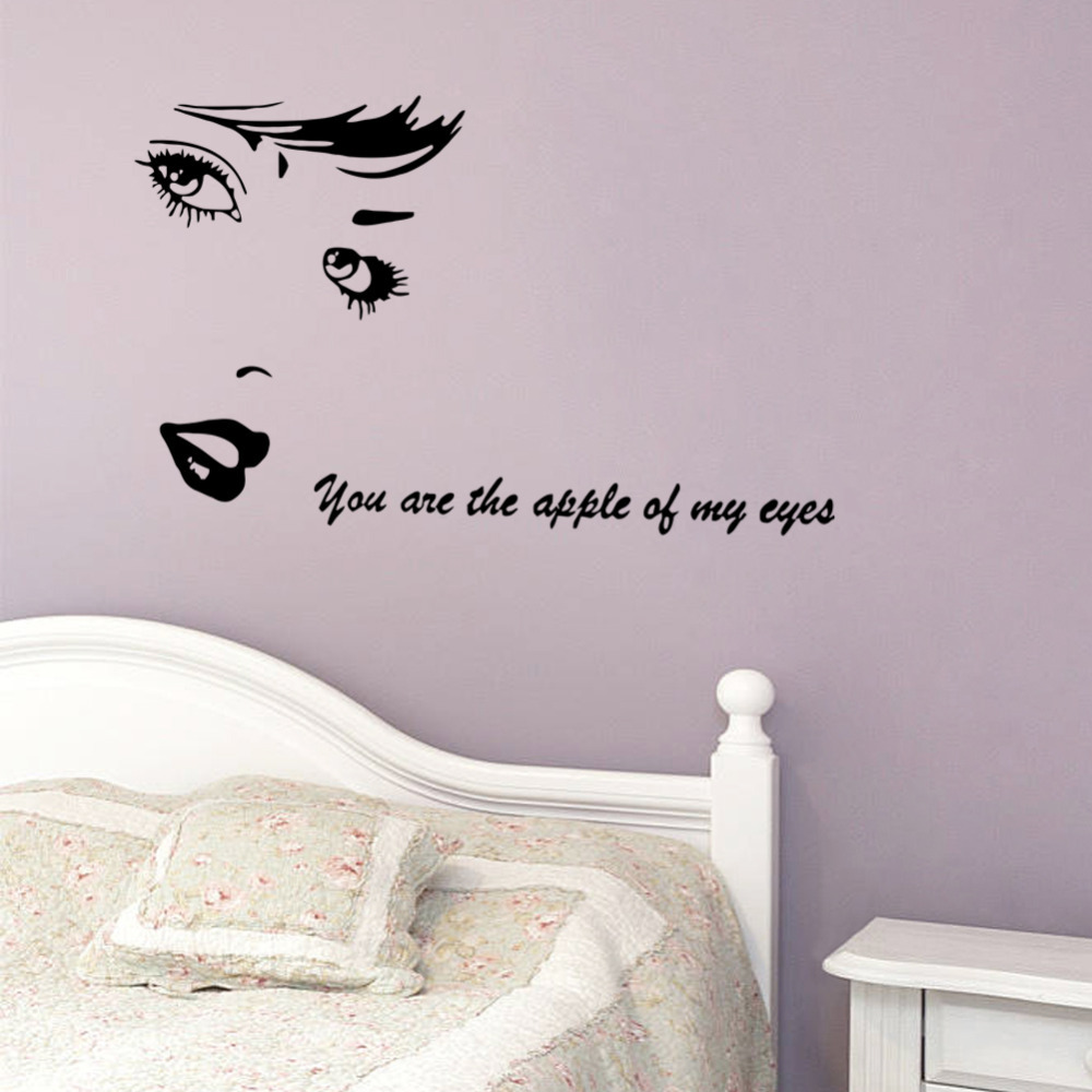 Beauty vinyl wall stickers you are the apple of my eye love beauty vinyl wall stickers you are the apple of my eye love quotes decals diy art mural home bedroom wedding room decor in wall stickers from home amipublicfo Images