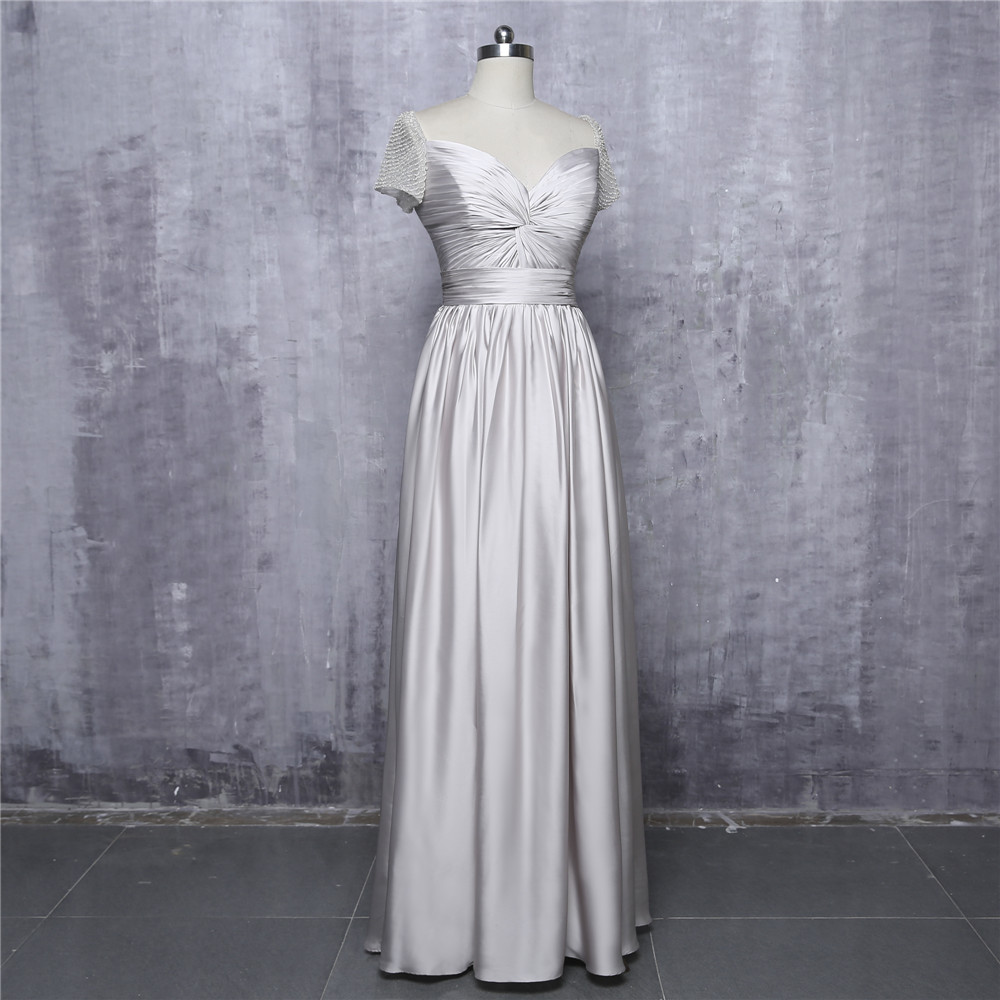 Silver 2018 Celebrity Dresses A-line V-neck Cap Sleeves Chiffon Pearls Long Evening Dresses Red Carpet Dresses