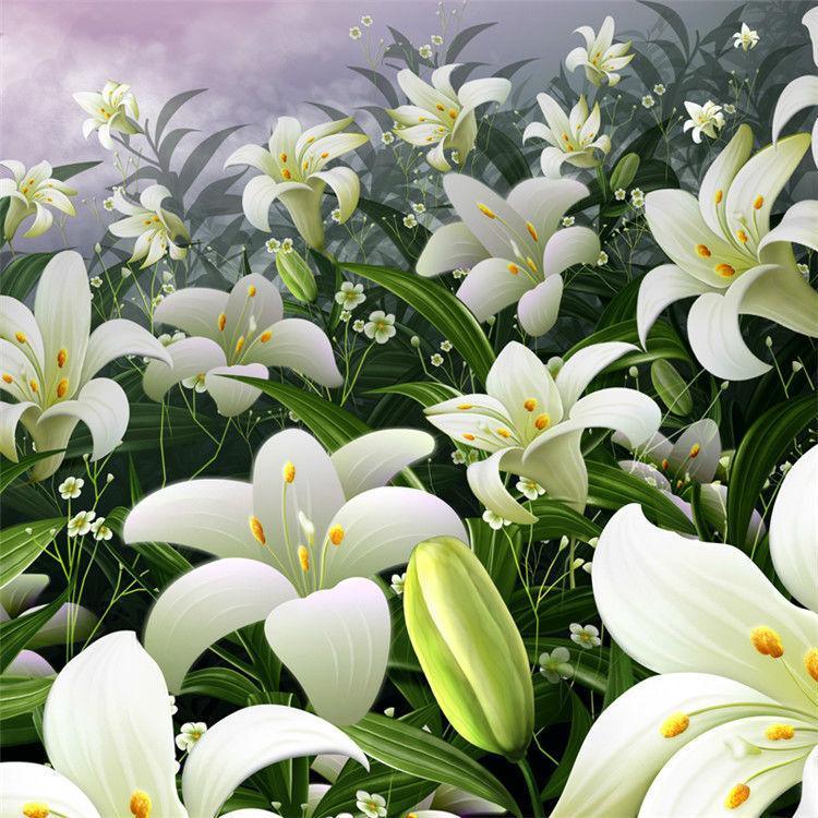 Bunga Lily elegan Foto Wallpaper Kustom Dinding Mural Wallpaper