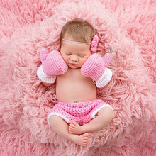 Photography Props Baby Photo Crochet Knitted Newborn Boxing Mittens