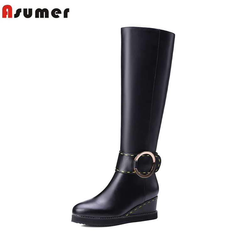 ФОТО ASUMER comfortable med wedges heels women the knee boots new arrival genuine+PU leather round toe autumn winter buckle shoes