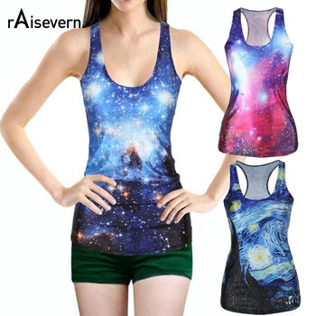 Nowych kobiet tank top bez rękawów 3D t shirt galaxy przestrzeń 3d starry drukuj tank tops kamizelka kreskówka dla kobiet lato topy
