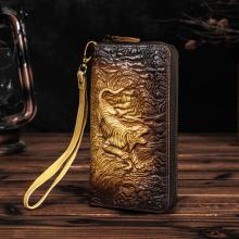 Men Quality leather Fashion Card Holder Checkbook Zipper Around Organizer Chain Wallet Purse Design Clutch Handbag