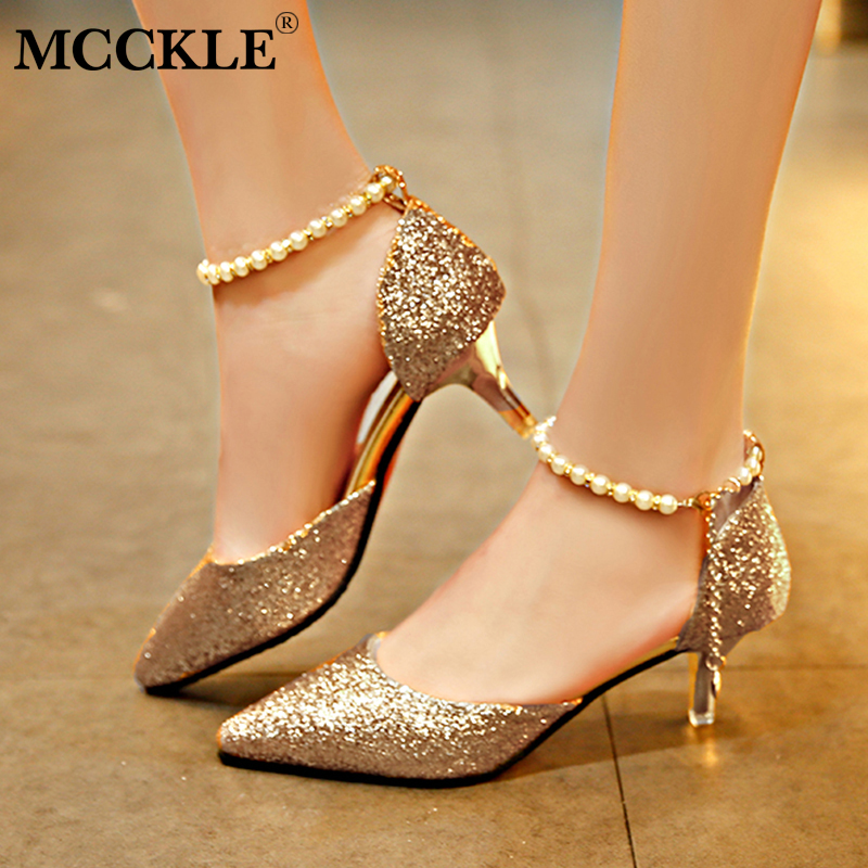 MCCKLE Women Spring Buckle Strap Pumps High Heels Female Pointed Toe String Bead Chain Shoes Thin Heel Sexy Footwear