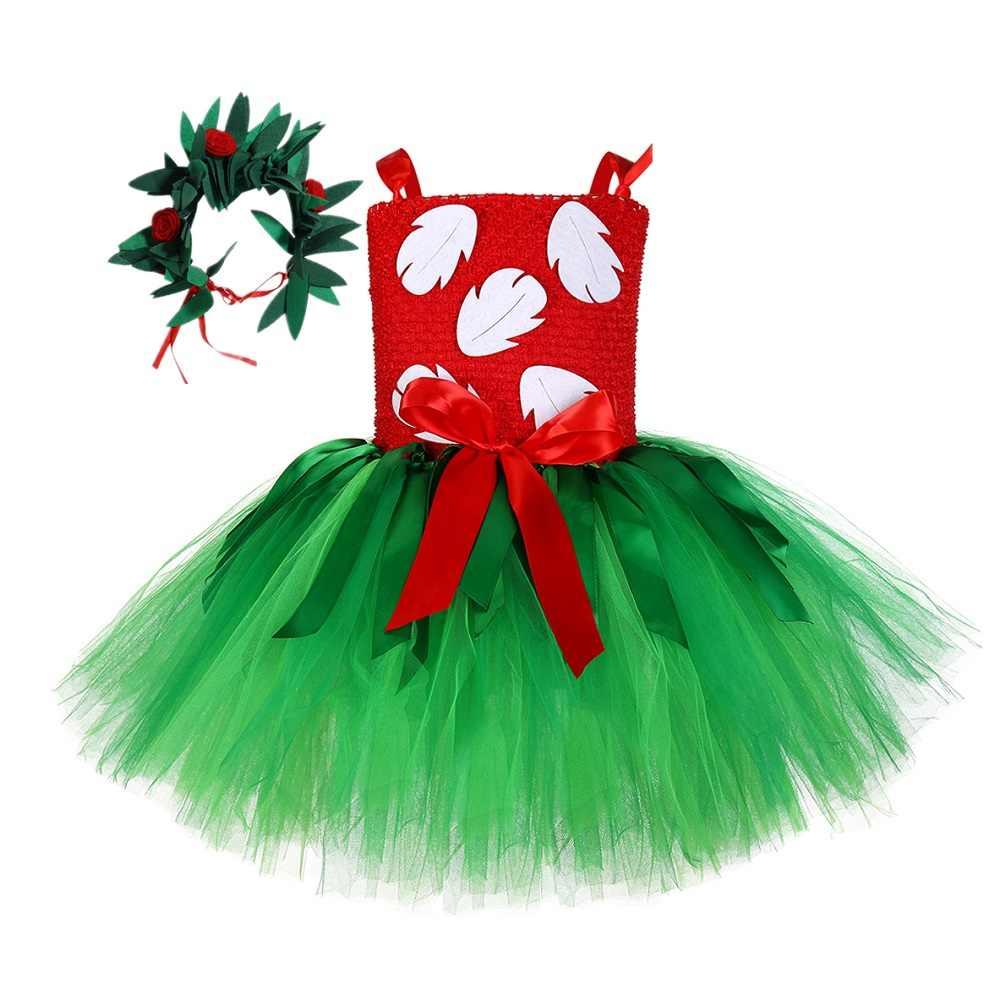 הוואי לואאו לילו טוטו שמלה עם זר פעוט תינוק בנות קרנבל מסיבת שמלת תלבושת ליל כל הקדושים תלבושות לילדים 1-14Y