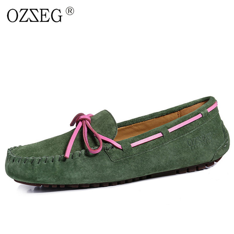 2018 Valentine real Genuine Leather female Luxury brand designer spring  elegant casual shoes wit bow boat 5dc689658818