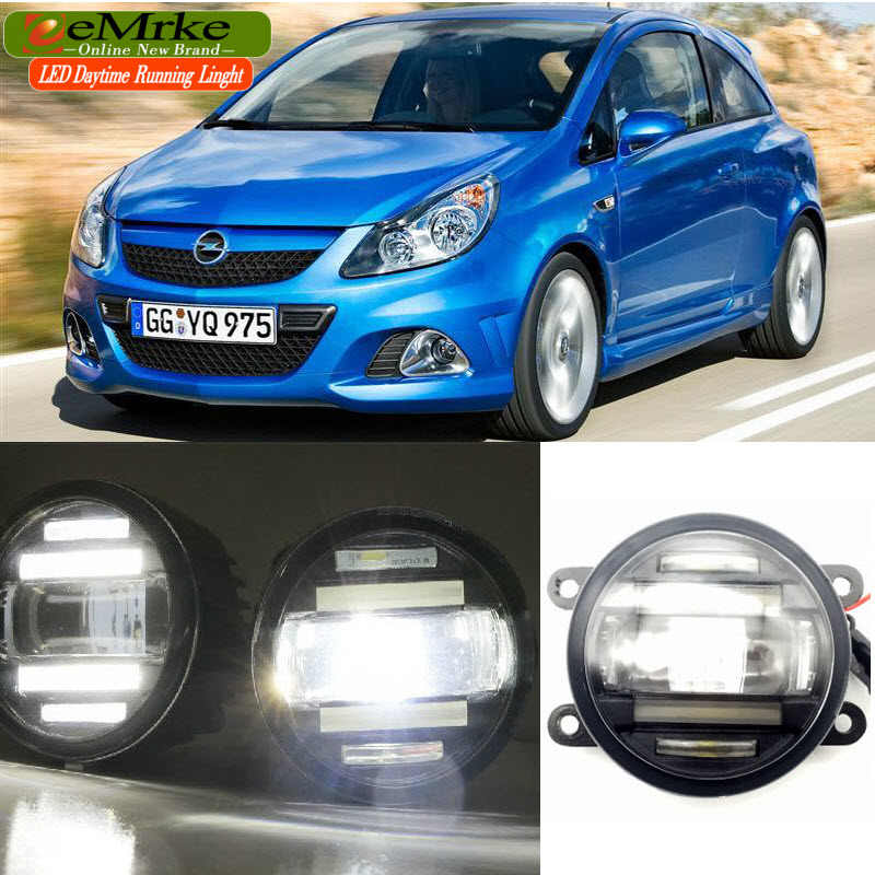 eeMrke Car Styling For Opel Vauxhall Corsa D OPC 2007-2011 2 in 1 LED Fog Light Lamp DRL With Lens Daytime Running Lights