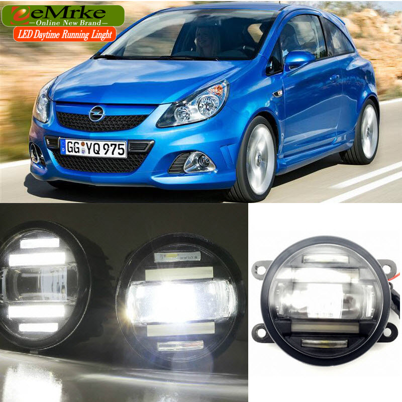eeMrke Car Styling For Opel Vauxhall Corsa D OPC 2007-2011 2 in 1 LED Fog Light Lamp DRL With Lens Daytime Running Lights eemrke car styling for opel zafira opc 2005 2011 2 in 1 led fog light lamp drl with lens daytime running lights