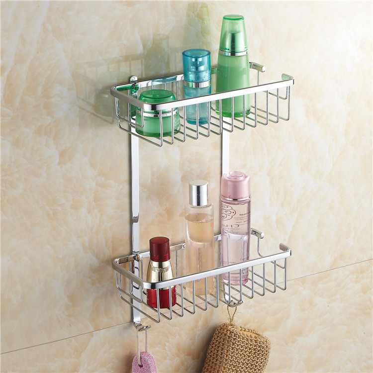 Bathroom Shelves 2-Tier Chrome Shelve For Bathroom Skin Care Shower Gel Shampoo Hair-conditioner Placed Basket Holder HJ-117L black bathroom shelves stainless steel 2 tier square shelf shower caddy storage shampoo basket kitchen corner shampoo holder