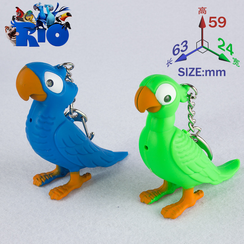 The lovely parrot keychain led sound light Flashlight pendant gift Creative personality bag pendant 4 colors mix order wholesale