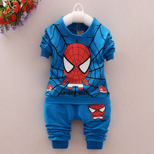 2016 new Korean boys sweater suit in children cartoon spider man fashion cool two piece clothing