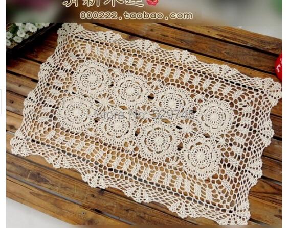 2PCS/LOT Christmas Crochet Flower 50X70CM Table cloth Rectangular  Tablecloths Pastoral Cotton Doilies Furniture Cover