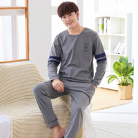 New Arrivals 2017 Men Pajamas Long Sleeved Autumn Winter Male Pajama Set Men Pure Full Cotton