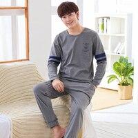 New Arrivals 2017 Men Pajamas Long Sleeved Autumn Winter Male Pajama Set Men Pure Full Cotton