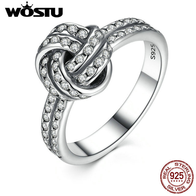 100 Authentic 925 Sterling Silver Sparkling Love Knot Finger