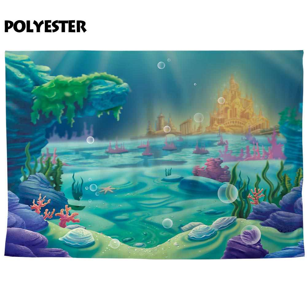 Allenjoy photo studio backgrounds seabed castle cartoon children birthday party customized photographic backdrops for family