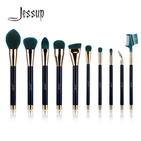 Jessup 10pcs Makeup Brushes Sets Beauty Natural Synthetic Hair Wood Handle Makeup Brush Tool Foundation Powder