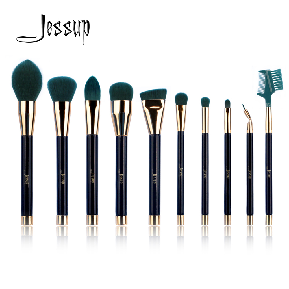 Jessup 10pcs makeup brushes sets beauty Synthetic Hair make up brush tool Foundation Powder Lash brow grommer Cosmetics tools 2016 new arrival black dual purpose eyelash assist device extension beauty supplies brow brush lash comb makeup brushes tools