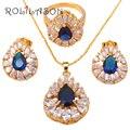 Zircão banhado a ouro Colares & Pingentes Brincos jóias azul Zircon Moda jóias Anel sz #6.25 #7 #7.25 #8 #8.75 #9 JS128