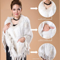CDS084 Drop Shipping  Ladies Large Rabbit Fur Knitted Poncho Without Hood With Raccoon Dog Fur Trimming Rabbit fur cape shawl