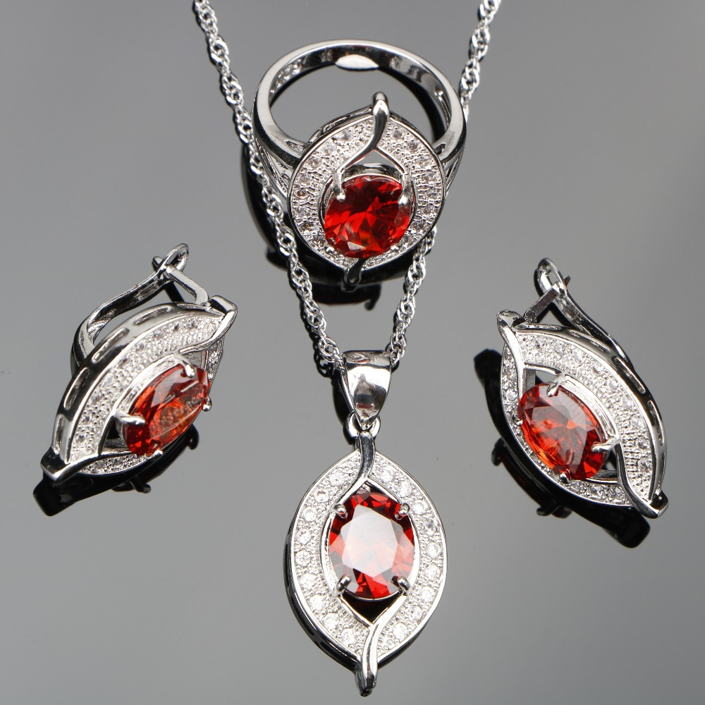 New Red Zircon Bridal Silver 925 Costume Jewelry Sets Women Pendants Necklaces Rings Earrings With Stones Set Jewelery Gift Box
