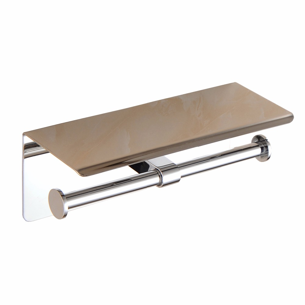 ФОТО Aothpher 304 Stainless Steel Toilet Paper Holder Bathroom Chrome Finished  Double Roll Paper Holder  and Paper Shelf