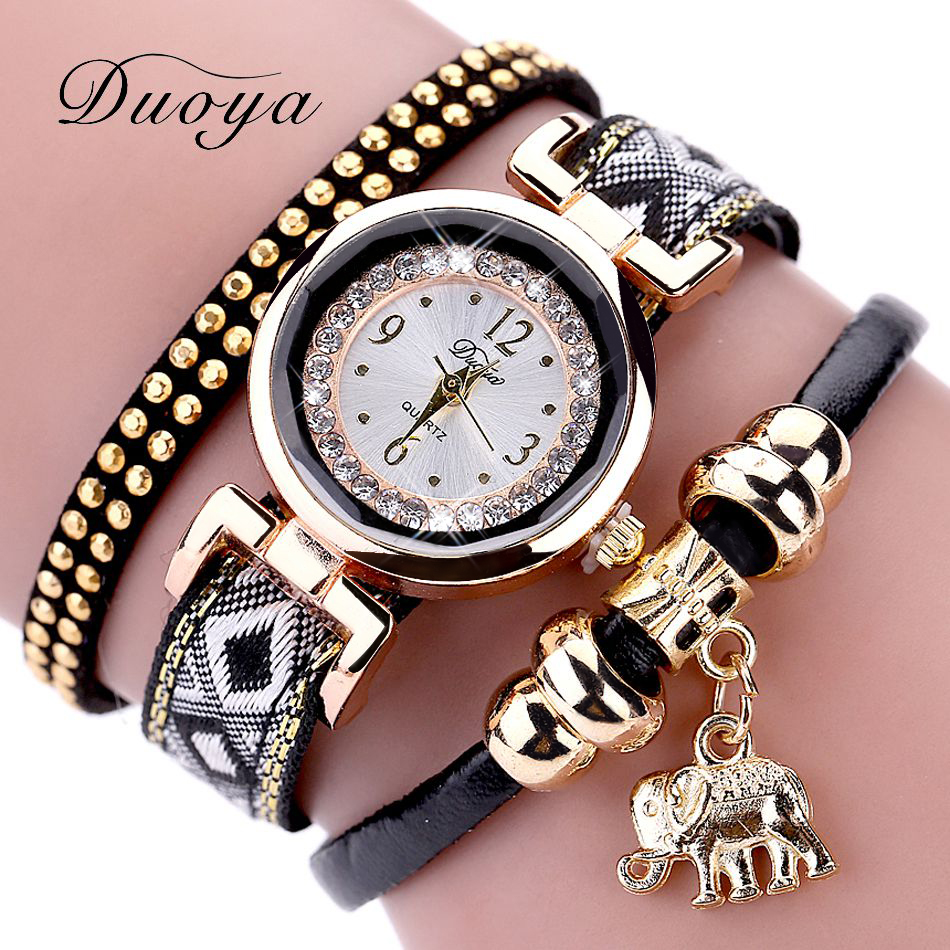 Duoya Luxury Top Brand Fashion Women Watches Gold Elephant Quartz Ladies Crystal Dress Bracelet Clock Female Wristwatches Gift duoya fashion luxury women gold watches casual bracelet wristwatch fabric rhinestone strap quartz ladies wrist watch clock