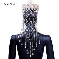 StoneFans Sparkling Crystal Tiara Luxury Wedding Headdress Bride Crown Round Large Queen Pageant Round Crown Hair Jewelry