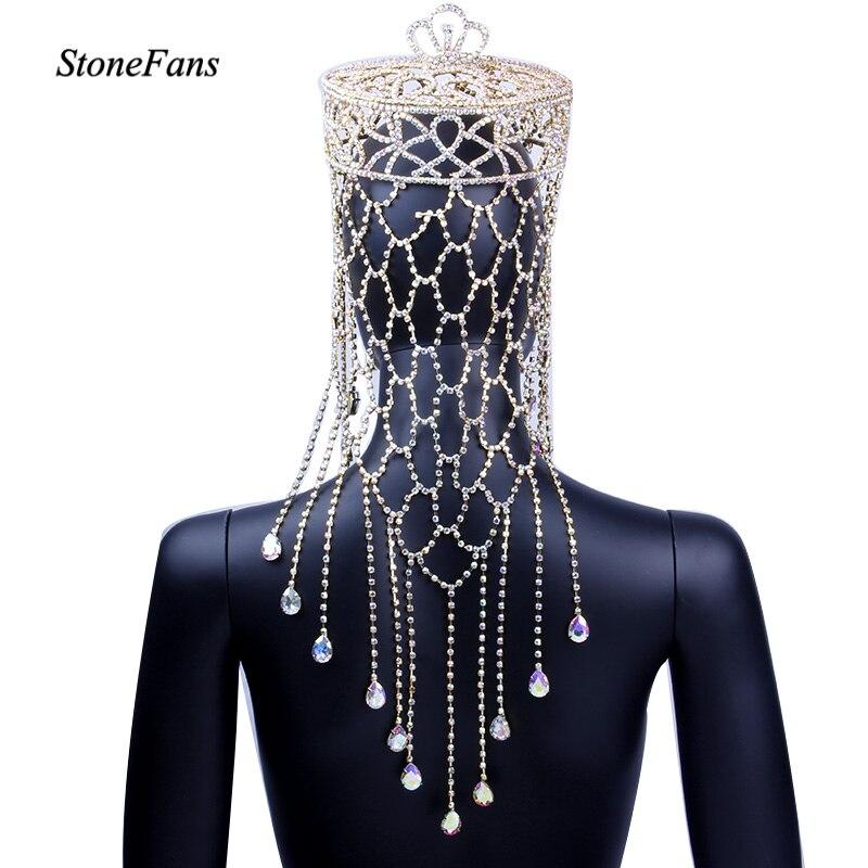 StoneFans cristal étincelant diadème de mariage de luxe coiffure mariée couronne ronde grande reine Pageant couronne ronde bijoux de cheveux