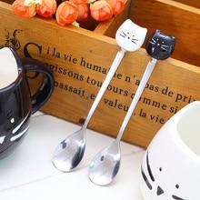 Spoon Dessert Sugar-Tea Ice-Cream Dinnerware-A Ceramic Stainless-Steel Cartoon Cat 1PC