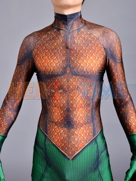Hot Sale Aquaman Cosplay Costume Spandex Zentai Suit 3D Print Aquaman Halloween Zentai Catsuit Costume For Adult/Kids