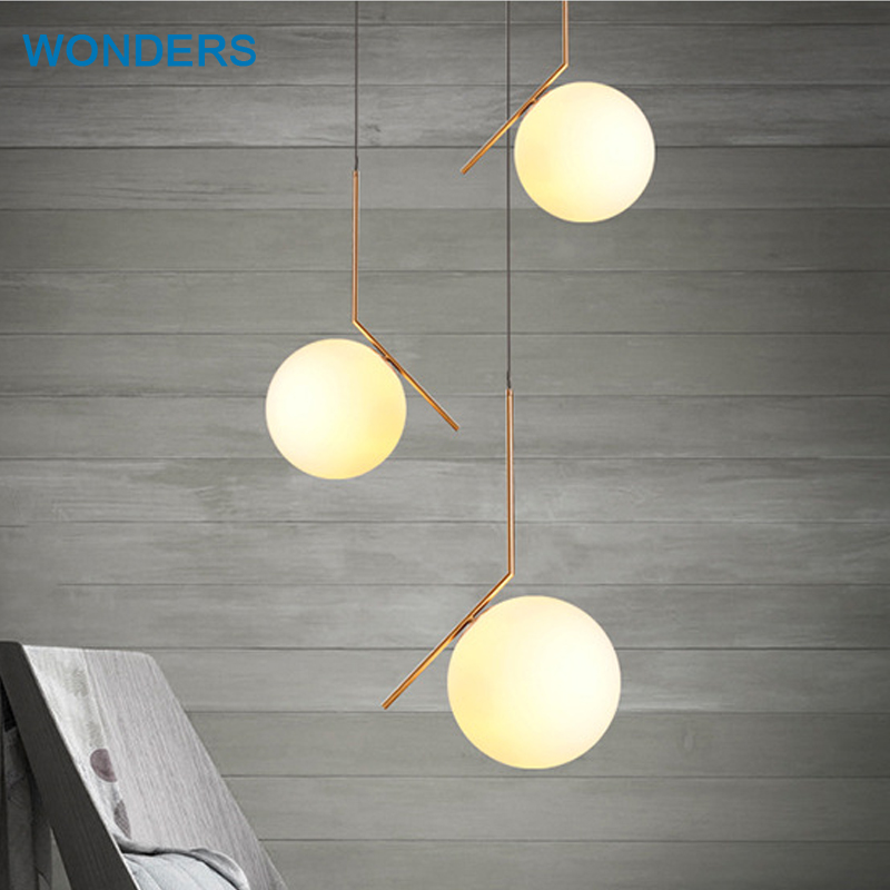 Nordic Modern Glass Pendant Light E14 E27 LED Bulb Elite White Ball Globe Shade Golden Rod