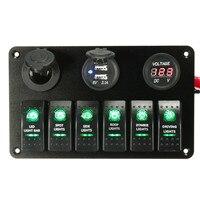 6 Gang 12V 24V LED Rocker Switch Panel Circuit Breaker Charger 2 USB Socket Cigaretter Plug