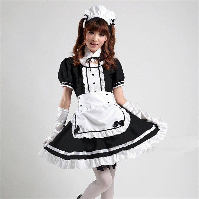 Japan Hot Anime Akihabara Cosplay maid Costume Cute Girls Dark Black Lolita Dress skirt lolita school tulle sexy cosplay S-XXXL