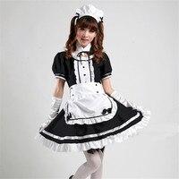 Japonia Hot Anime pokojówka Akihabara Cosplay Costume Śliczne Dziewczyny Ciemny Czarny szkoła lolita Lolita Sukienka spódnica tulle sexy cosplay S-XXXL