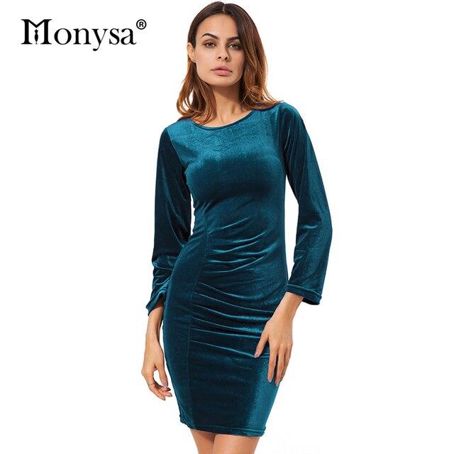 52f86a65326d Donne Office Lady Abiti Autunno 2017 Nuovo Arrivo Elegante Polso Manica  Vestito Aderente Donne Vestito di
