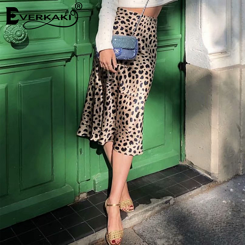 5d6d883007 Comprar Everkaki Moda Chic Pattern Leopard Saias Midi Saia Das Mulheres Do  Vintage Impresso Saias Longas Para Mulheres Senhoras Casuais Bottoms  Baratas ...