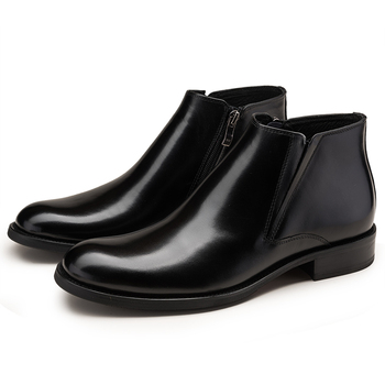 Fashion Black / Tan Warm Wool Lining Winter Mens Ankle Boots Genuine Leather Dress Boots Male Office Shoes
