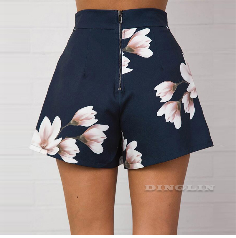 GZDL Fashion Navy Blue Floral Print Women Shorts Summer High Waist Casual Pockets Zipper Back Ladies Beach Mini Shorts CL3872 7