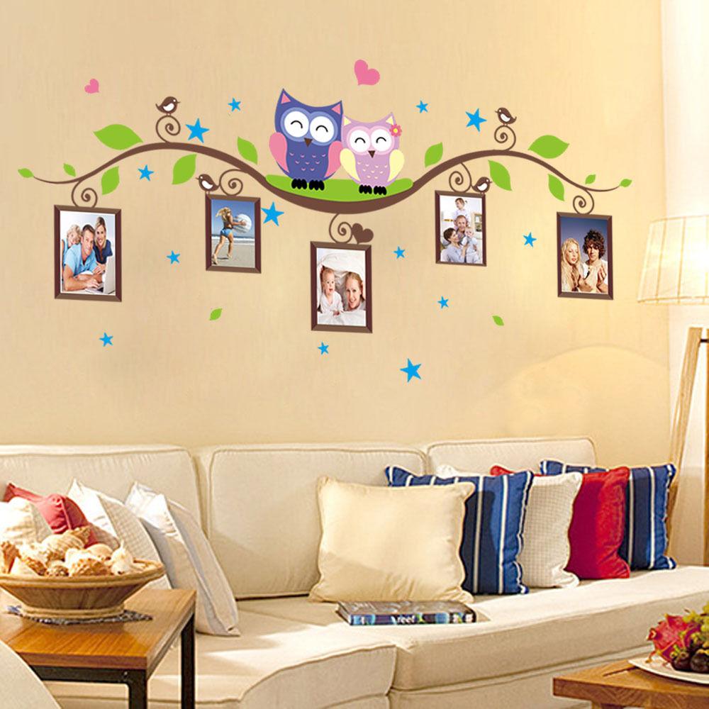 Cute Cartoon Owls Photo Frames Kids Room Decor Wall Sticker ...