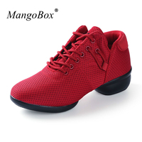 Hot Cheap Ballroom Dancing Shoes Black Red Modern Dance Shoes Mesh Breathable Jazz Dance Sneakers Cheap Sport Trainers Ladies