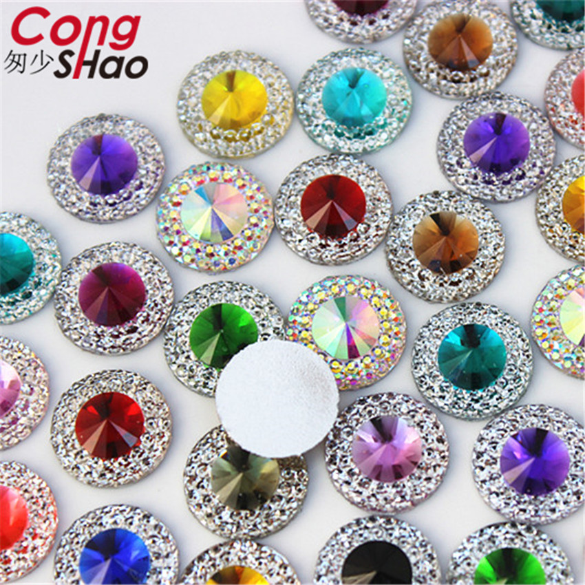 Купить с кэшбэком Cong Shao 200PCS 12mm Colorful Round Flat Back Stones And Crystal Resin Rhinestone Trim DIY Gems For Costume Button Crafts YB495
