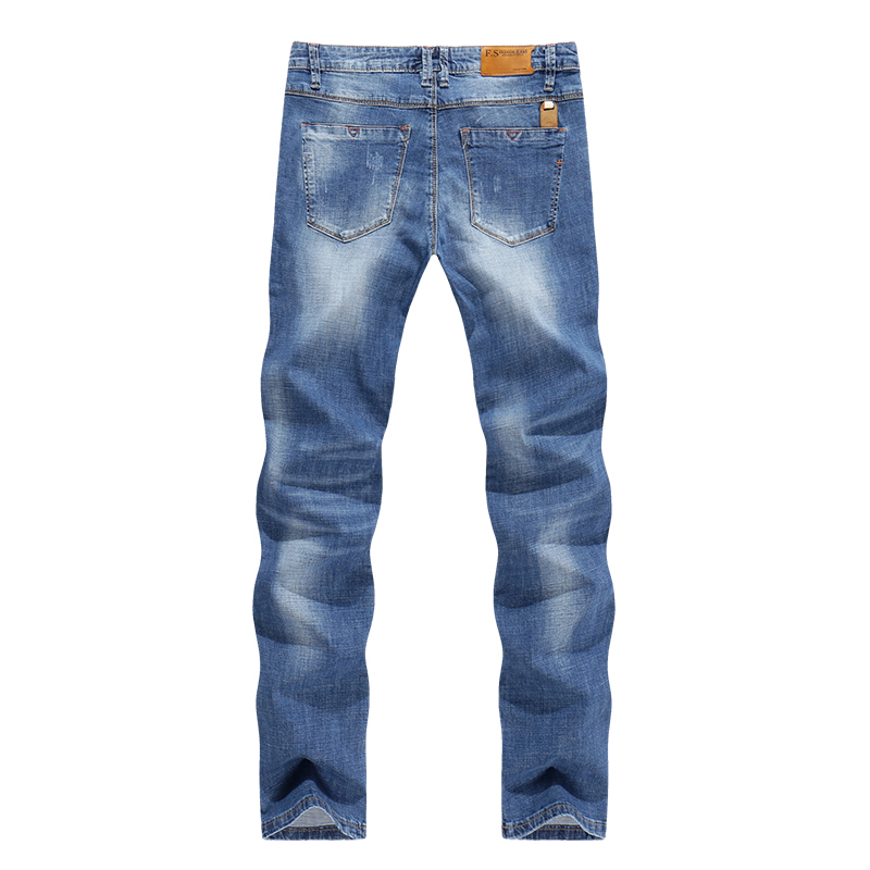 Jeans Men Light Blue Stretch Slim Straight Regular Fit Casual Jeans Male Denim Pants Male Long Trousers Top Quality Plus Size 40 10