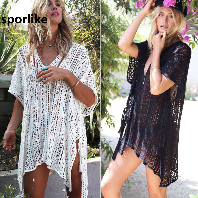 2018 nuevas llegadas Sexy Beach Cover up blanco Crochet Robe de Plage Pareos para las mujeres Swim Wear Saida de Praia beachwear Coverups