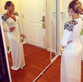 Formal Long Dress 2016 Plus Size Evening Dress Long Sleeve With Black Applique Elegant Mother Of The Bride Dresses Vestido Longo