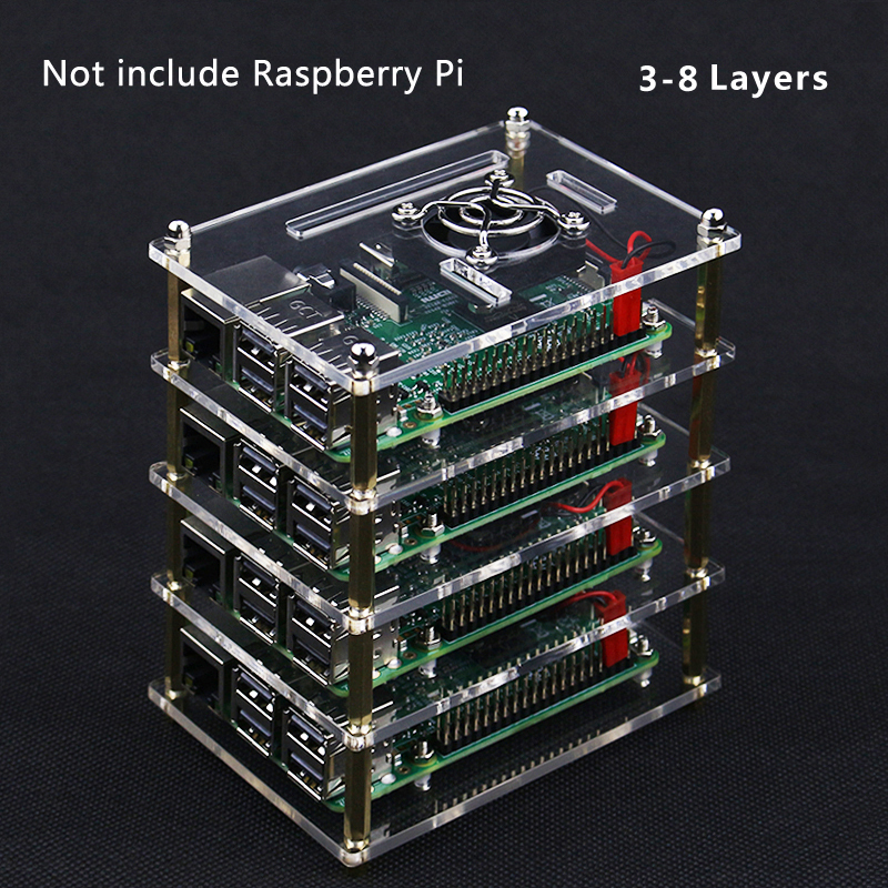 For Raspberry Pi 4 Acrylic Case 3 To 8 Layers Acrylic Box Shell Enclosure With Cooling Fan For Raspberry Pi 3 Model B 3B Plus