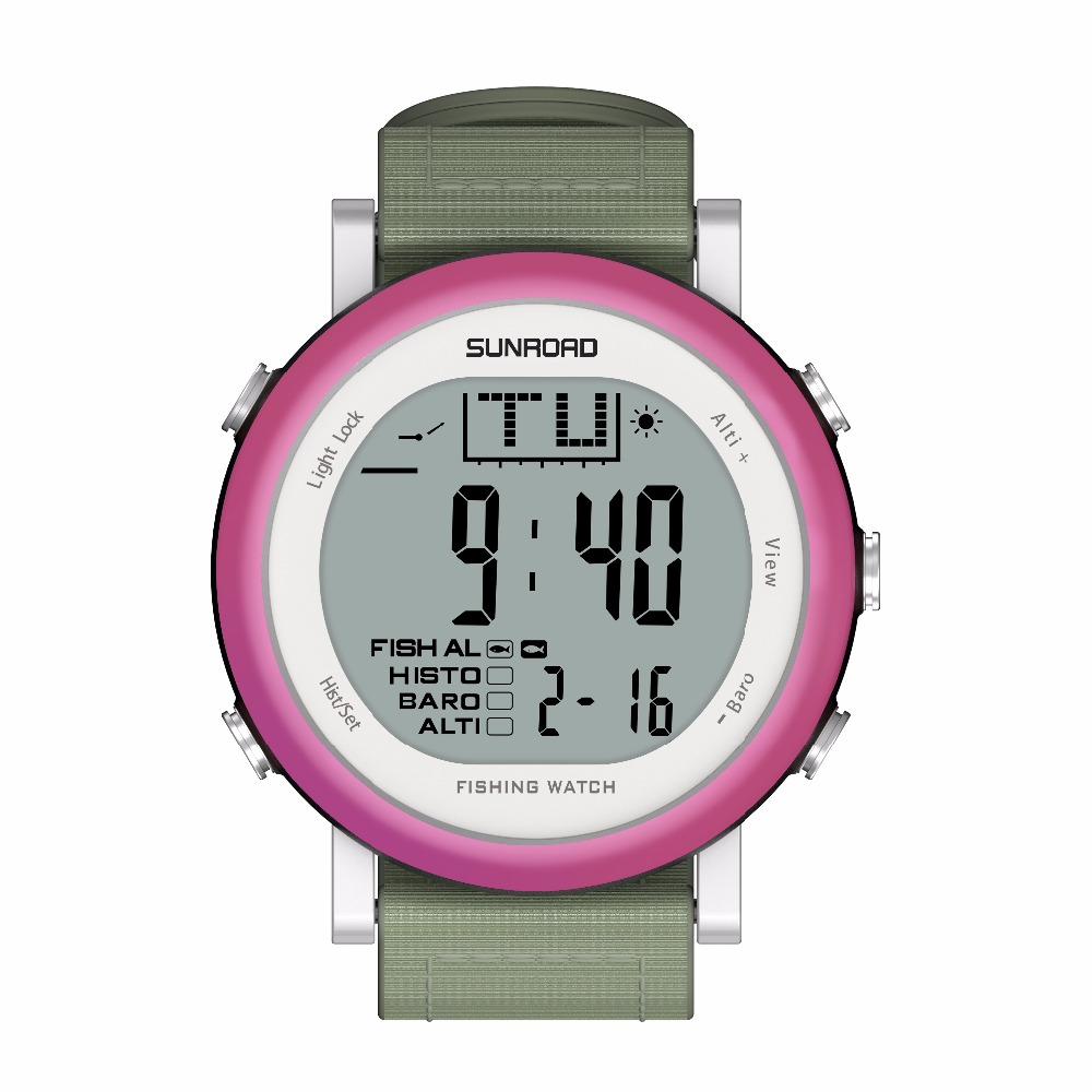 SUNROAD FR721A  Fishing Sports  Watch Men - Digital Stopwatch/Altimeter/Barometer/Thermometer  with Nylon Strap Clock (Purple)