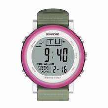 SUNROAD FR721A Fishing Sports Watch Men – Digital Stopwatch/Altimeter/Barometer/Thermometer with Nylon Strap Clock (Purple)